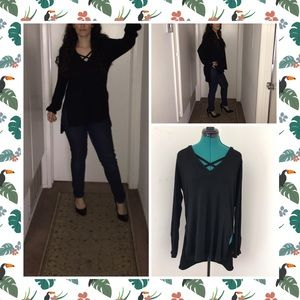 Oversized black blouse by Forever 21. Size L